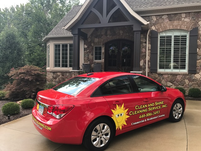 Clean and Shine car in front of customers home